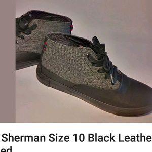 Ben Sherman Black Leather Grey Tweed Size 10 Shoes